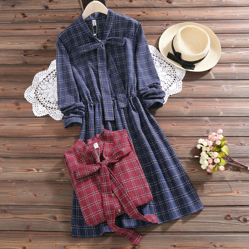 Mori Girl algodón Lino Plaid vestido suelto de talla grande S-2XL