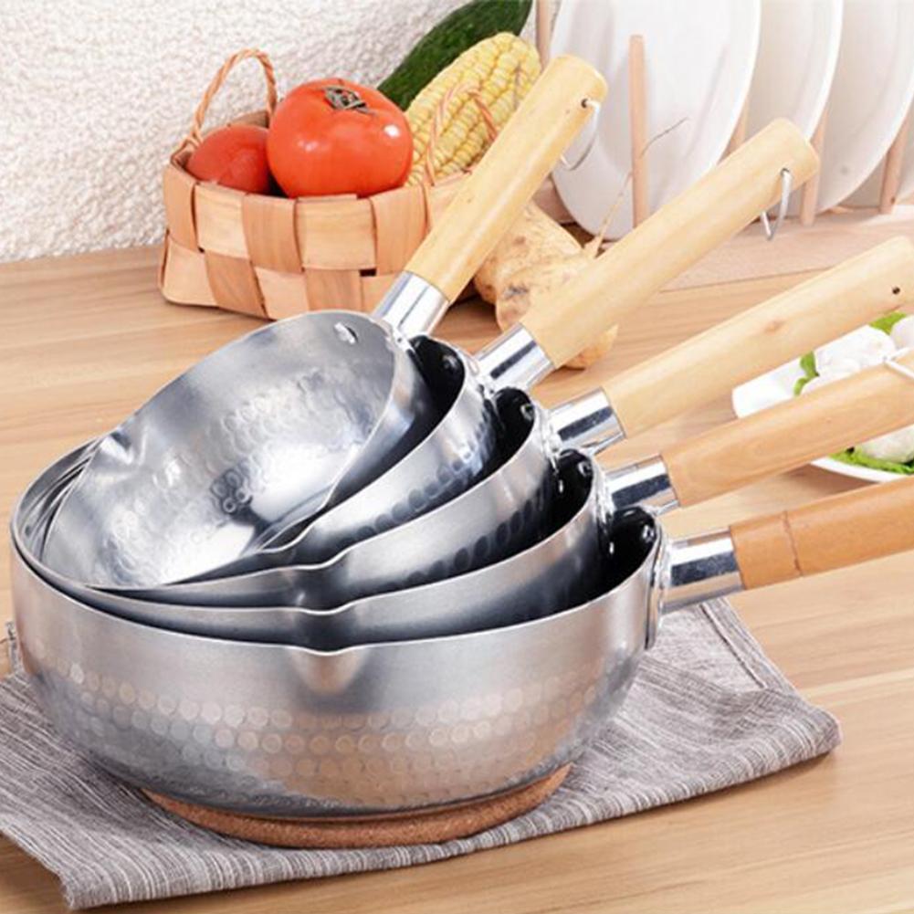 Olla para calentar sopa y leche, olla para salsa, sartén de aluminio antiadherente con asa de madera para cocinar sopa, estofado, salsa, Pasta