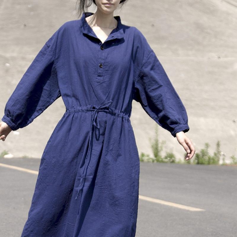 Manga larga cuello vuelto vestido sólido mujer 2018 otoño Midi camisa vestido suelto Casual Sashes algodón Lino señoras Bata hiver