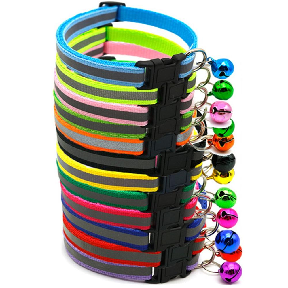 10 unids/lote de collares ajustables de 1,0 cm de nailon para perros, collares para mascotas con campanas, Collar con dije para Perros pequeños, collares para gatos