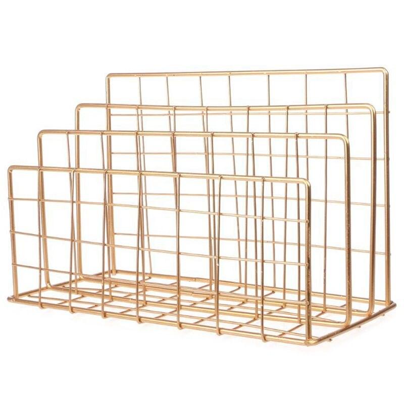 Estilo nórdico rejilla de arte del hierro estante de almacenamiento de libros de tres capas de escritorio repisa para revistas hogar organizador de decoración de oro