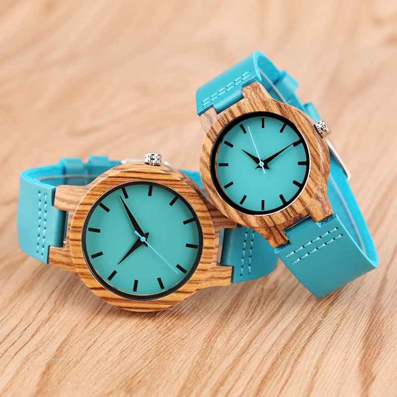 New Fashion Unique Blue Wood Watch Men Clock Man Analog Casual Genuine Leather Chic Women Dress Quartz Wristwatches Lovers Gifts