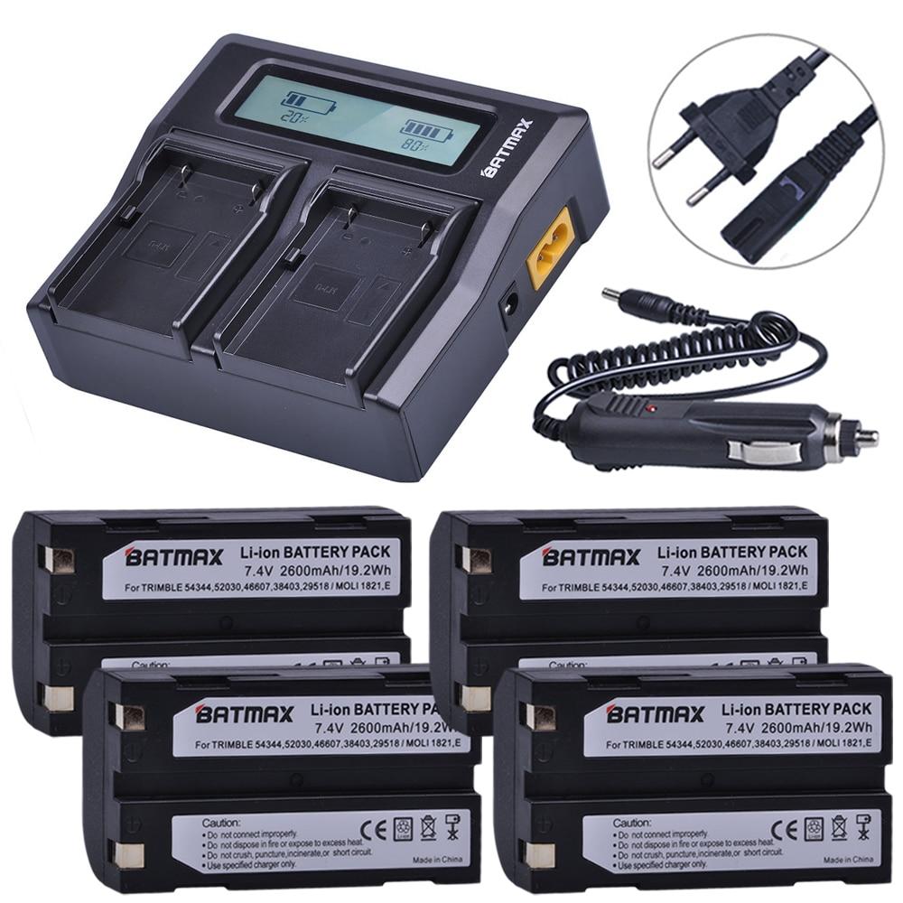 4 шт. 2600 мАч 54344 батарея Akku + быстрое двойное зарядное устройство для Trimble 5700,5800, R6, R7, R8, TSC1 GPS приемник батареи