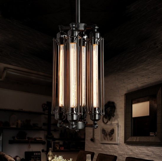 Luz colgante de hierro para Loft 4 bombillas edison. Club nocturno industrial Steampunk metal punk lámpara Accesorio de iluminación retro deco