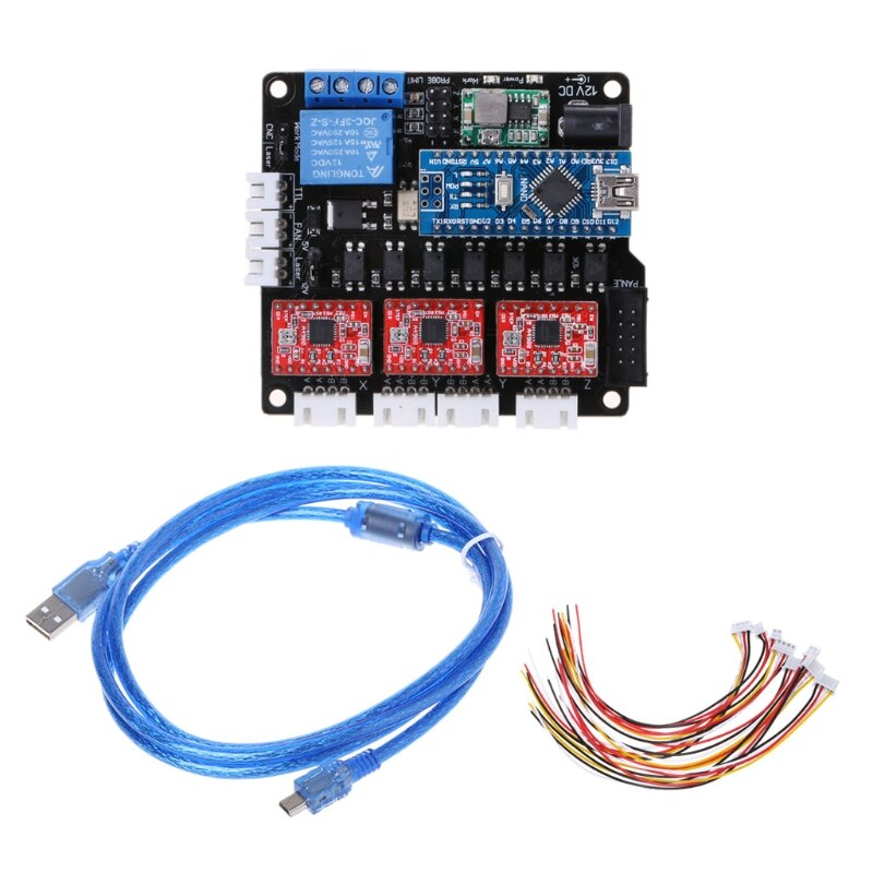 Placa controladora láser GRBL CNC USB 3 controlador de motor paso a paso con eje placa controladora para Mini grabadora CNC