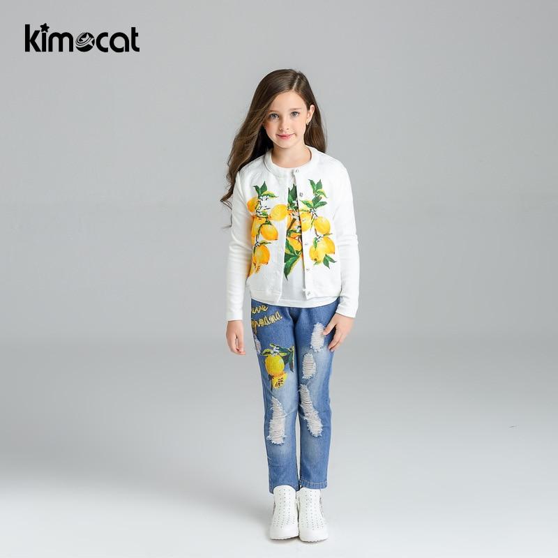 Kimocat-سترة أطفال للخريف والربيع ، سترة ، تي شيرت جينز ، بدلة رياضية للبنات ، مجموعة ملابس أطفال عادية