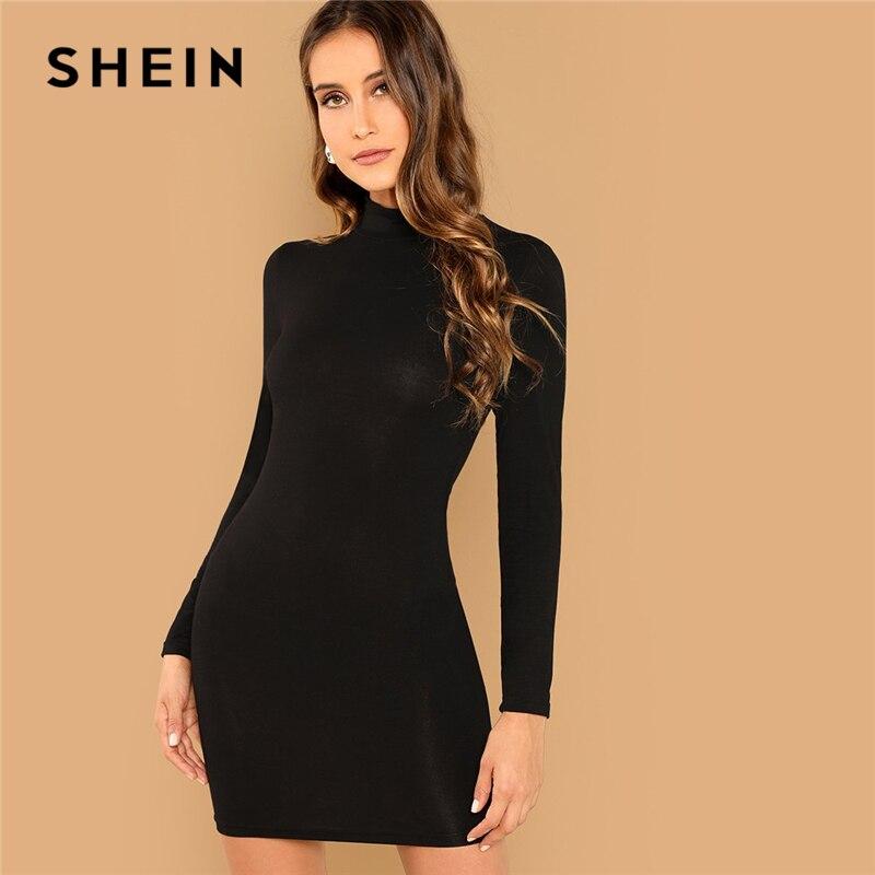 SHEIN negro minimalista Oficina señora vestido ceñido liso Stand Collar manga larga Skinny vestido 2018 otoño ropa de trabajo Casual mujeres vestidos