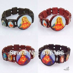 Wholesale 48pc Wooden Catholic Rosary Beads Bracelet SAINTS Angel Virgin Mary Holy Icon Religious Bracelets