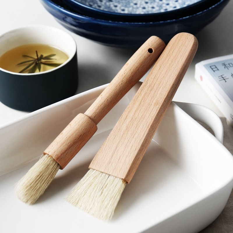BBQ-cepillo de hilvanado de madera para hornear y hornear pasteles, cacerola de aceite, miel, cepillos para mantequilla, barbacoa, utensilios domésticos de cocina, utensilios para hornear