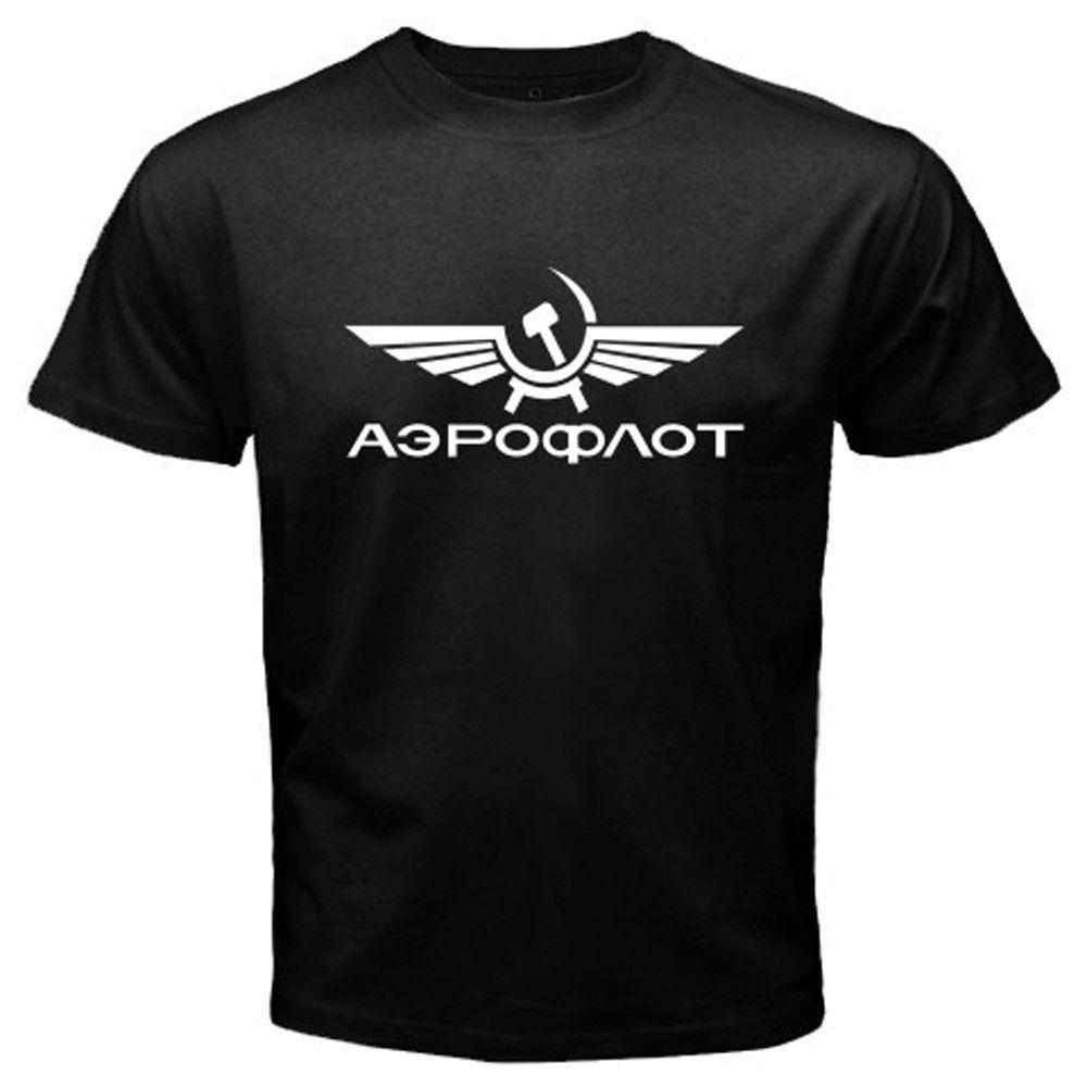 ¡Novedad! Camiseta de manga corta de algodón informal negra para hombre Aeroflot de líneas aéreas rusas, camiseta de hip hop, ropa de calle Harajuku