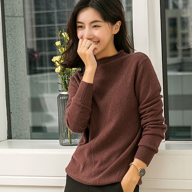 Jerséis de mujer, 100% Pashmina, suéteres tejidos, novedad de invierno, manga larga, 7 jerséis de colores, prendas estándar para mujer, Tops para niñas