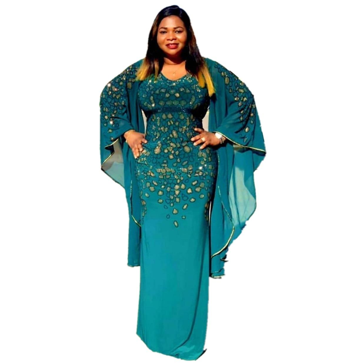 African Dresses For Women Elegant Fashion Long Dress Sexy V-Neck Beads Skinny Prom Evening Fashion Elegant Party Maxi Dress