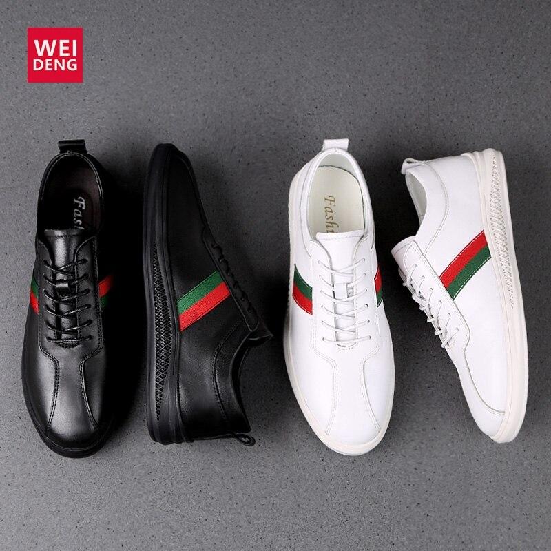WeiDeng hombres Casual vaca zapatos de cuero genuino zapatos suaves de moda con cordones zapatos masculinos cómodos de alta calidad de talla grande