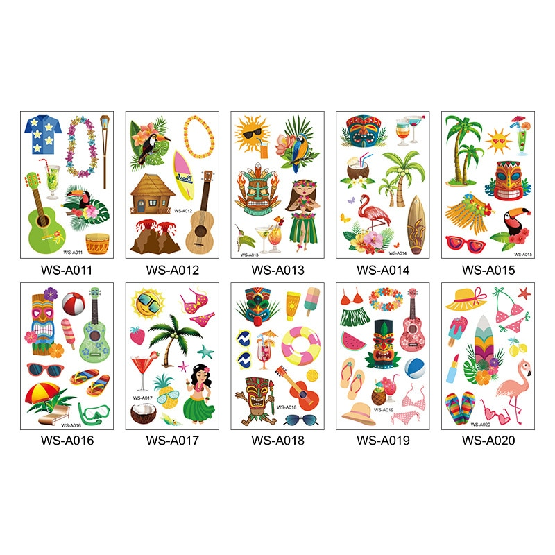 10 pièces/ensemble autocollant de tatouage hawaïen Tropical Aloha Flamingo tatouages temporaires Hawaii Luau fournitures de décoration de fête dété