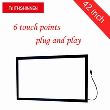 Kit de marco de pantalla táctil ir de 42 pulgadas con marco de pantalla táctil múltiple, kit de 6 puntos táctiles con marco de tv táctil sin cristal
