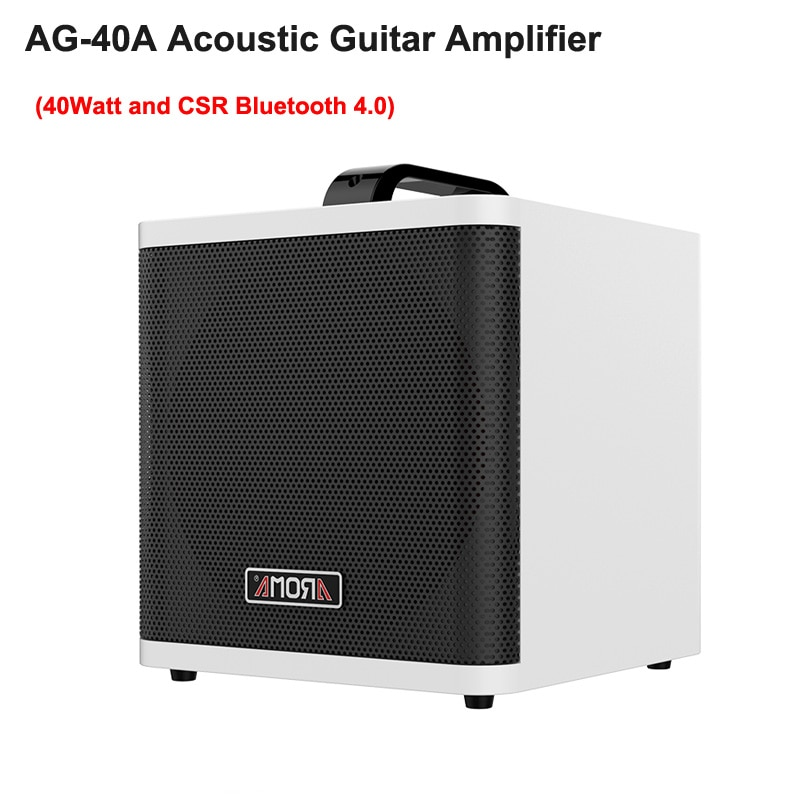 AROMA AG40A Acoustic Guitar Amplifier 40W Digital AMP Audio Speaker Box Built-in Tuner CSR Bluetooth w/ Gauge Cable Power Adapte