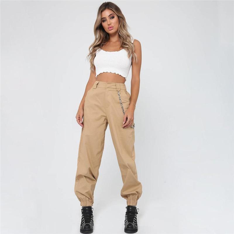 2019 New Women High Waist Chain Hip-Pop Combat Cargo Harem Pants Fashion New Casual  Wear Zipper Loose Without Chain Trouser