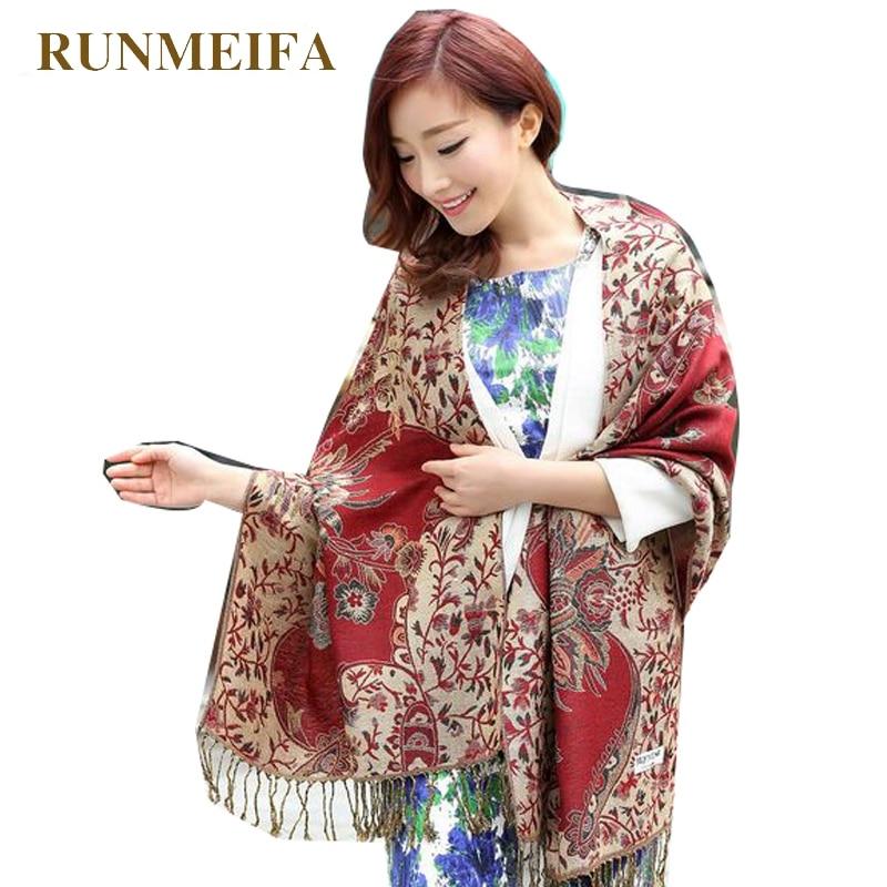RUNMEIFA Large Size 2019 New Fashion Womens Pashmina Scarf Wrap Shawl Winter female Stole Scarves bufandas invierno mujer