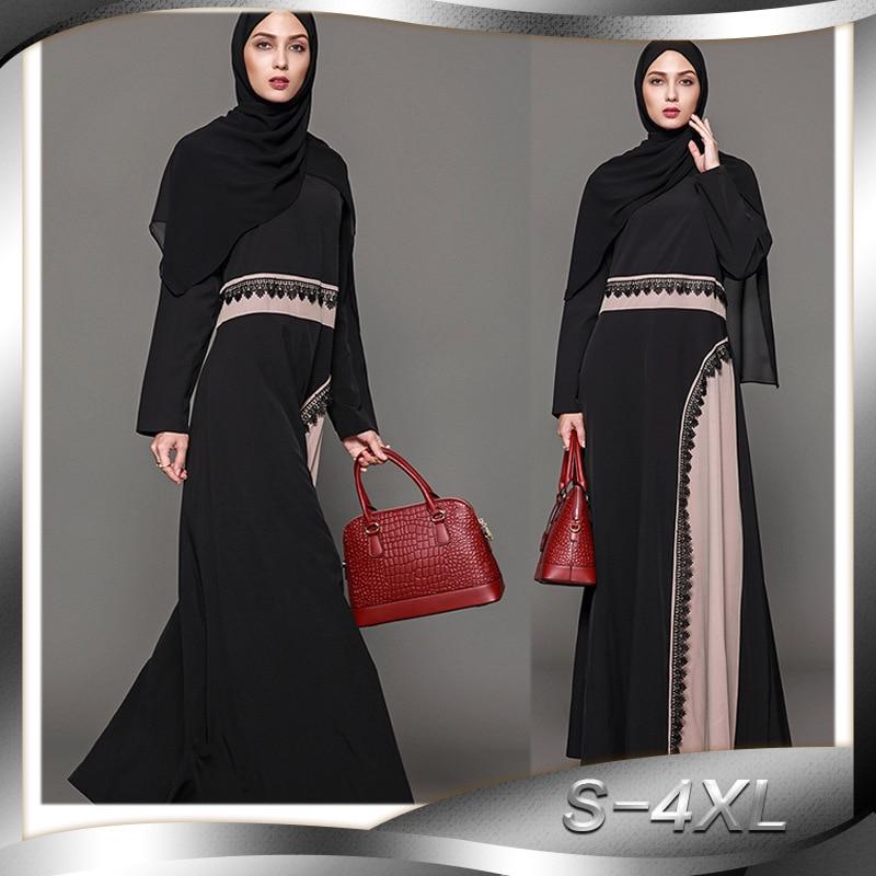 Moda mujer Arabia Saudita vestidos de talla grande 4XL Patchwork musulmán Dubai vestido negro marrón Abaya turco Jilbab