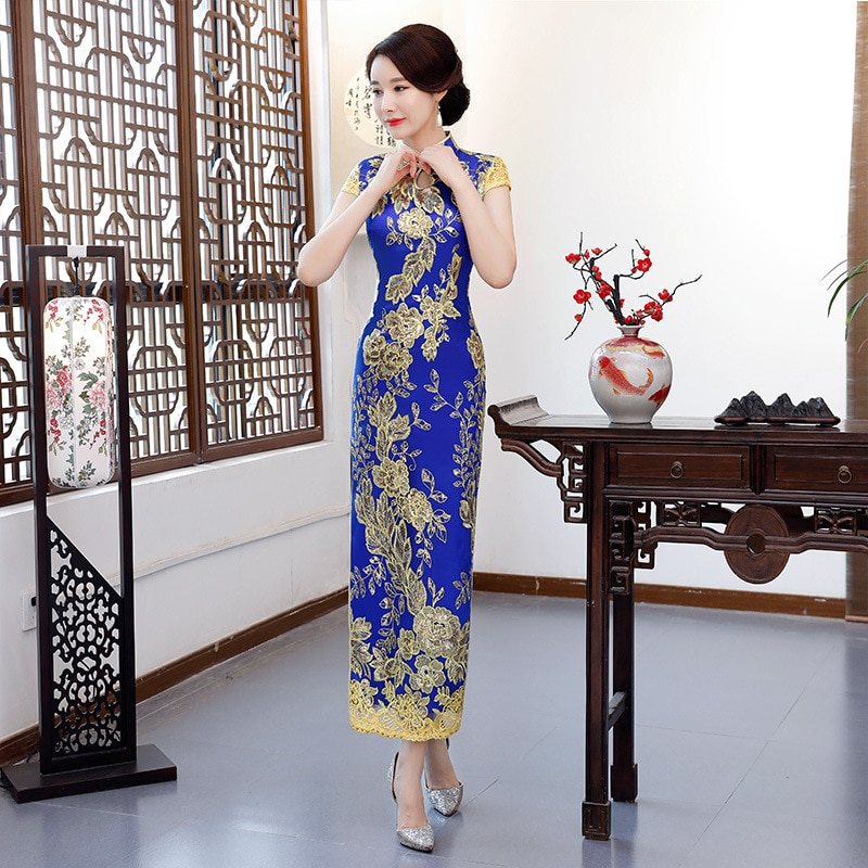 Vestido de Noite Azul Moda Festa Mulheres Orientais Elegante Qipao Cheongsam Estilo Chinês Sexy Longo Robe Vestido Tamanho Grande S-4xl