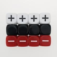Rollooo 12 geçiştirmek zar GM marş paketi 3 setleri 4 kader opak siyah beyaz ve kırmızı +-sembolü