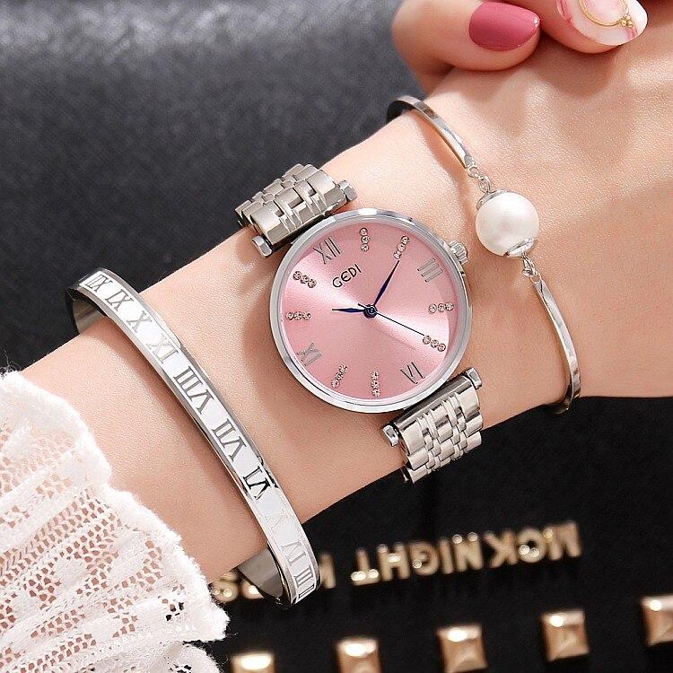 Rosa de Ouro Marca de Luxo Peças da Menina Gedi Moda Prata Mulheres Relógios Top Ladies Quartz Ver 3 Assista Relógio Feminino Hodinky