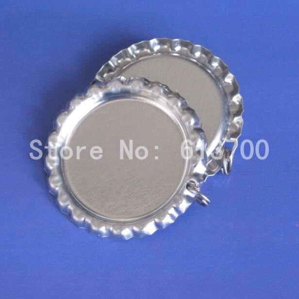Venta al por mayor 1000 unids/lote tapas de botellas de cromado de colores con agujero y anillo para manualidades