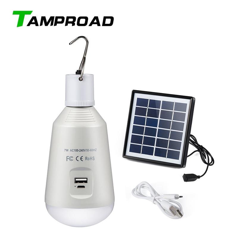 Linterna portátil TAMPROAD, lámpara colgante para tienda de campaña, Bombilla LED DE EMERGENCIA E27, linterna de Camping recargable Solar USB 100-240AC