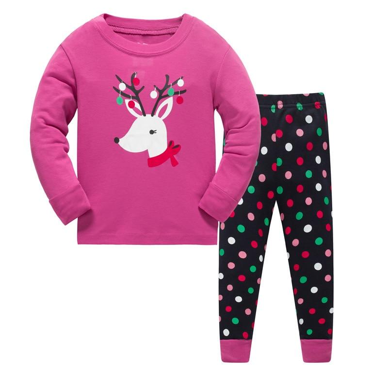 Kids pajamas set girls Cartoon deer pattern sleepwear Suit Boys 100% cotton casual design nightwear Girl home clothes size 3-8T