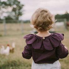Kızlar bluz bebek kız gömlek sonbahar giysileri Maka çocuk bebek giyim Toddler kız Tees KIKIKIDS mor gömlek sonbahar giysileri