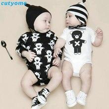 2018 recién nacido niños niñas Bodysuits ropa oso estampado de manga larga/manga corta Body Suit Twin Bebes ropa de algodón infantil 0-24M