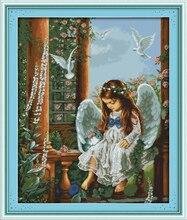Love Angel Girl People Cotton Cross stitch kits 11CT Print Paintings Embroidery DIY handmade Needle Work Home Decor Ricamo