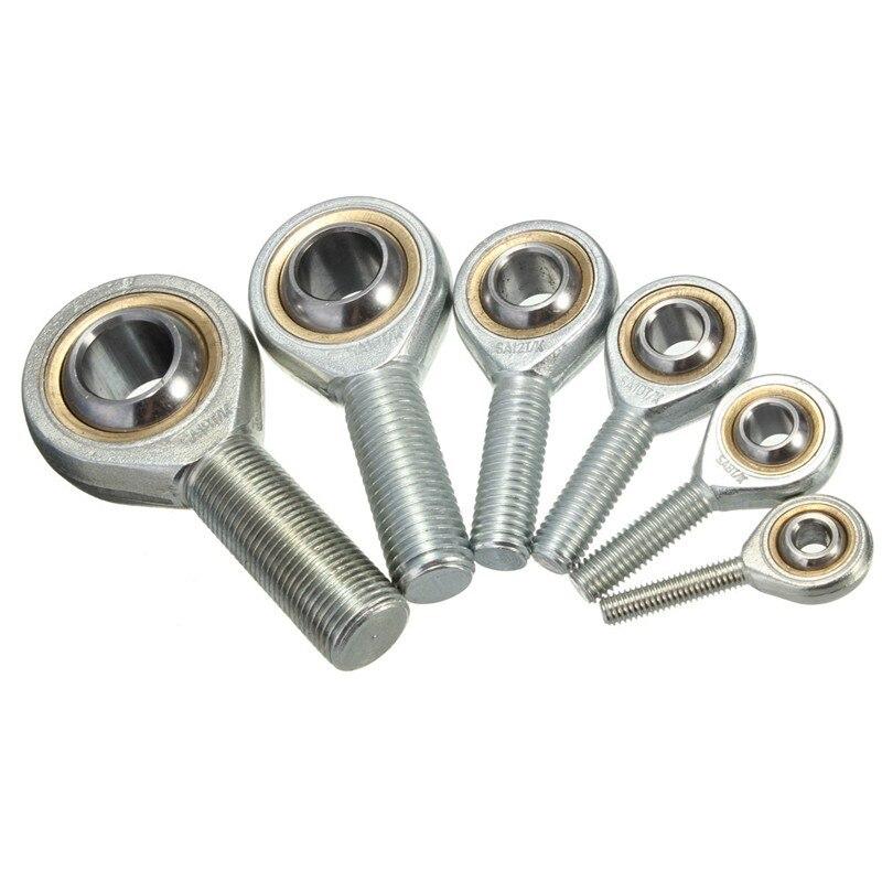 6-18mm diámetro plata macho roscado de una sola fila Junta varilla extremo oscilante cojinete de rosca de la mano derecha