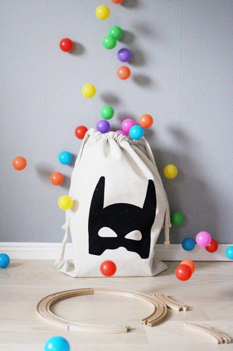 Baby Kids Toys Storage Canvas Bags Cute Batman Bear Laundry Home Storage Bags Pouch