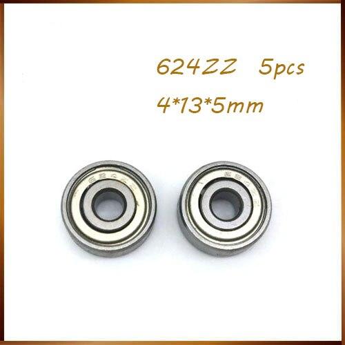 5 pçs/lote 624 zz 624 z 624 zz rolamento de esferas alta qualidade 4*13*5mm chrome aço rolamento para peças impressora 3d