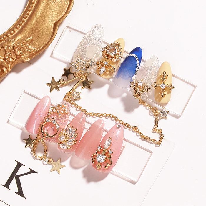 5pcs/lot Star chain Pendant Zircon Nail Art Crystal Rhinestone metal manicure nail accessories DIY Nail Decoration Nails charms