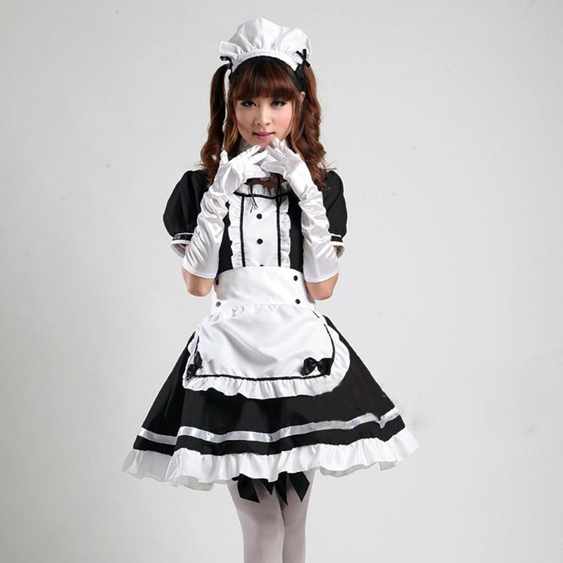 Anime Cosplay Light Tone Maid Costume Cosplay Maid Restaurant  Anime Costume Black And White Halloween Party Uniform Headwear