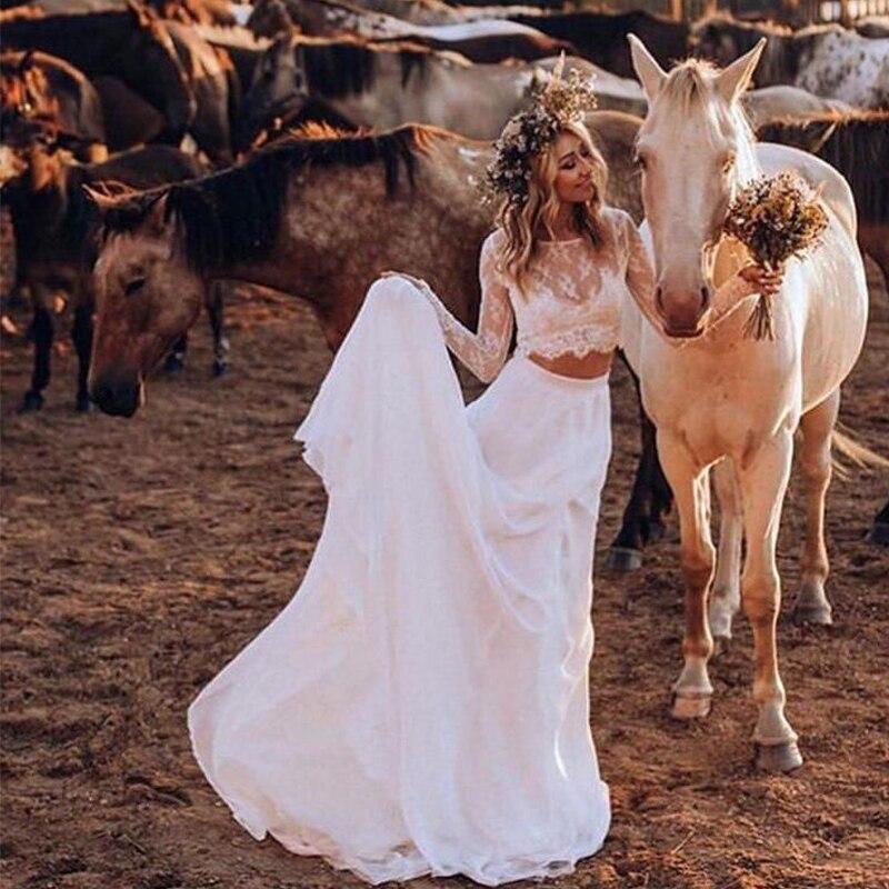 Dos piezas de encaje playa vestidos de boda de manga larga longitud completa Sexy vestidos de novia botones país vestidos de novia