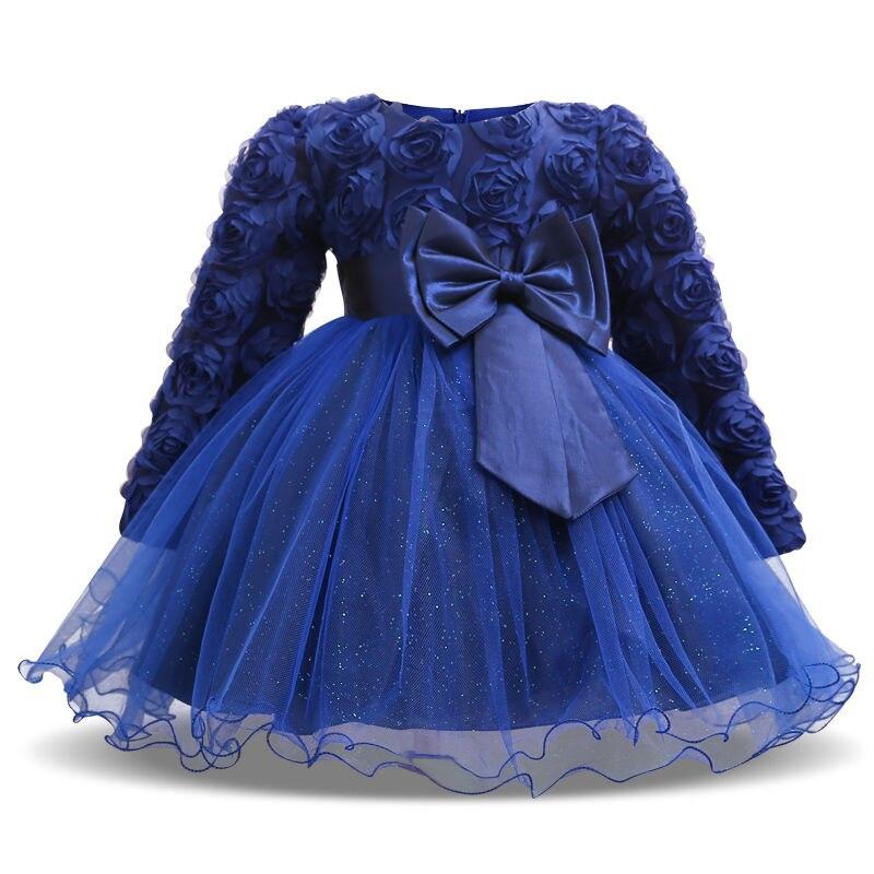 Платья с блестками для маленьких девочек; Платье с длинными рукавами и цветочным рисунком; Вечерние платья для первого дня рождения и крестин; Одежда для младенцев; bebes
