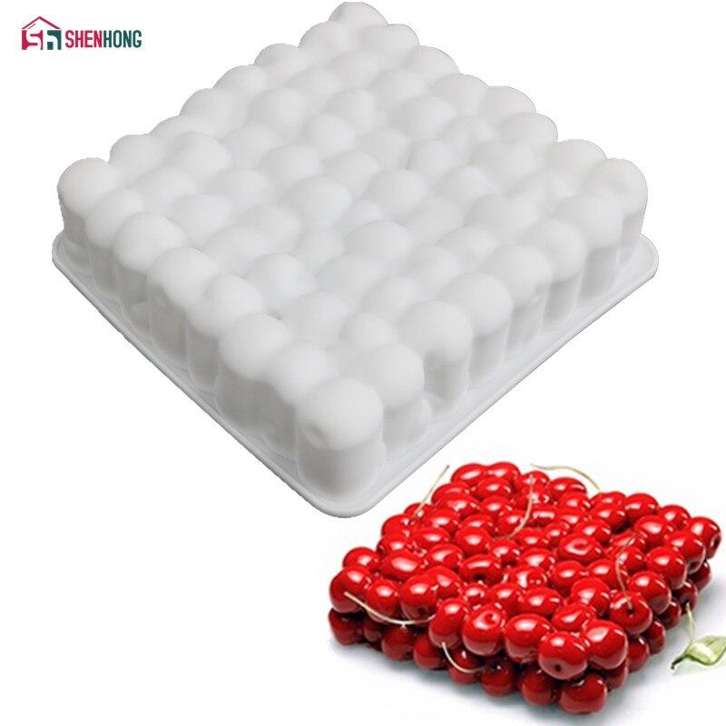 SHENHONG molde de silicona con forma de cereza 3D para hornear mousse de chocolate, moldes de esponja, sartenes, herramientas de decoración de pasteles, accesorios