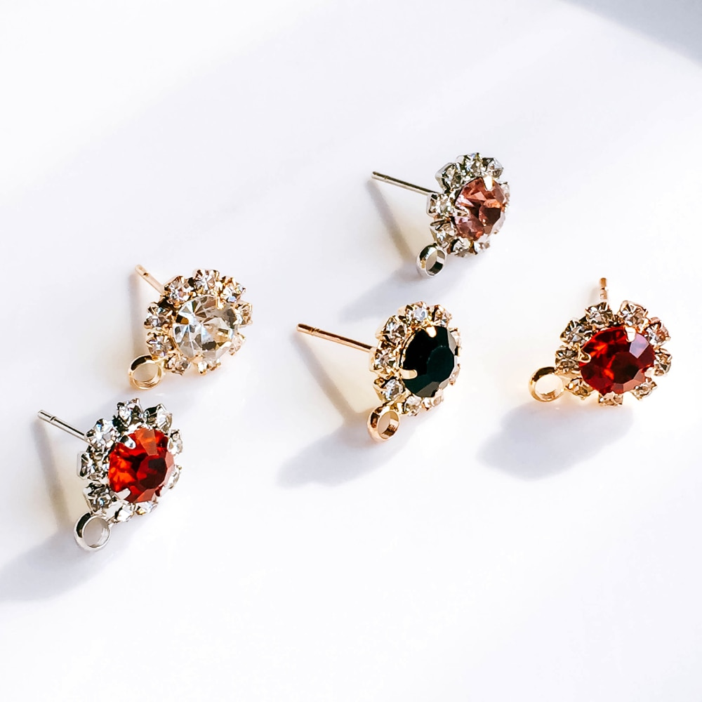 AliExpress - ZEROUP Rhinestone White K Gold Plated Stud Earrings 4 Colors Ear Accessories Jewelry Component Diy Material Handmade 6pcs