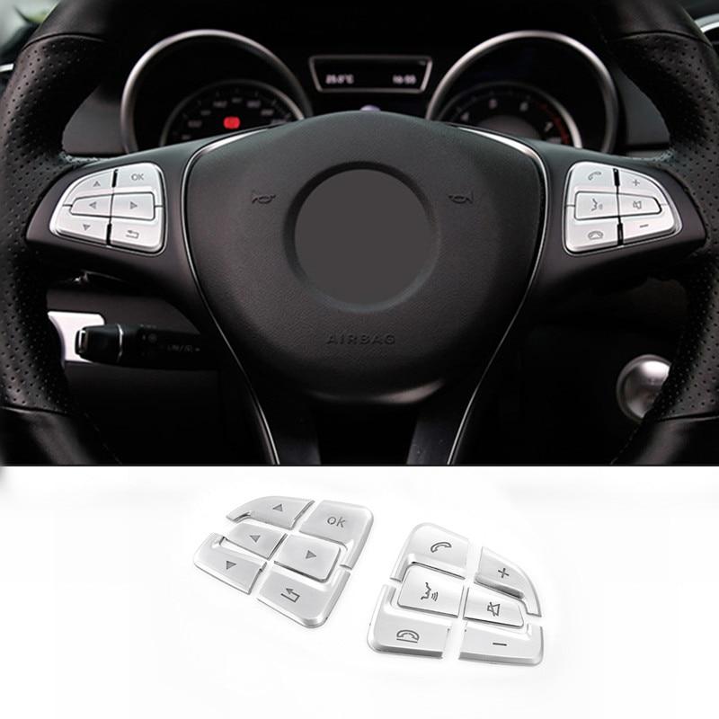 Interior Steering Wheel Button Trim Cover 12pcs For Benz GLA X156 2016-2018