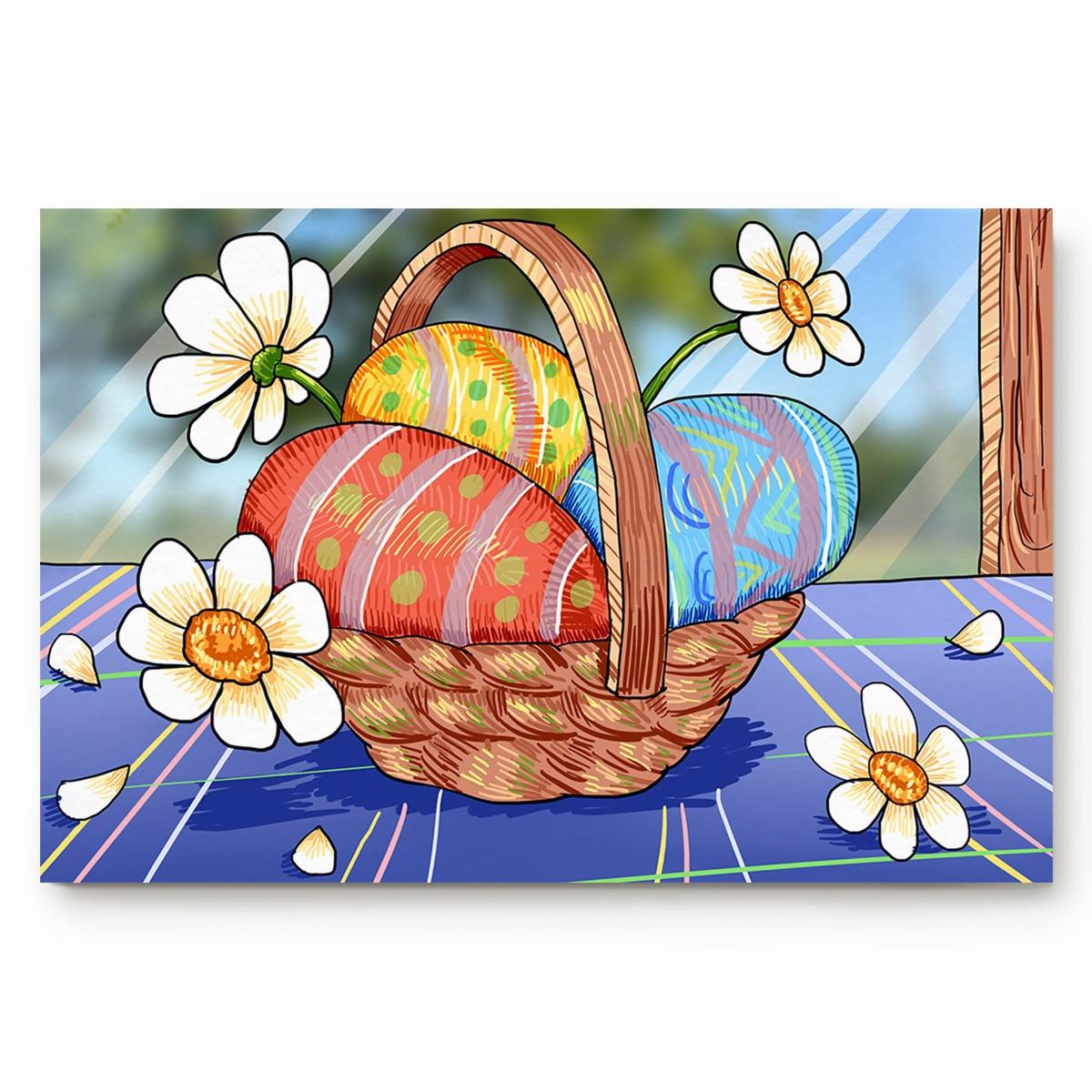 Cesta para huevos de Pascua, flores debajo de un tazón para mascota, tazón para agua y alimentos, Set de accesorios de baño, suciedad, residuos, barro, cazador, raspador de zapatos, piso