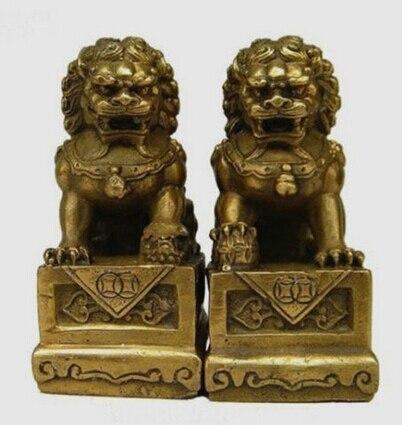 Cobre latón chino artesanía Asia China feng-shui tradicional pie fu perro Guardion puerta León estatua escultura