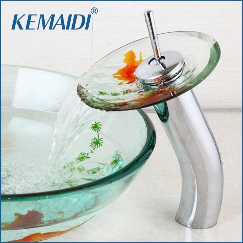KEMAIDI بالوعة الحمام خلاط صنبور صنبور ذهبية تصميم الكروم النحاس شفافة الزجاج المقسى شلال صنبور صنبور المياه الزجاج