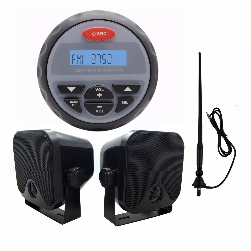 "4.5"" Waterproof Marine Radio FM AM Audio Bluetooth Stereo for Boat ATV RZR+Waterproof Marine Speakers+Black Antenna"