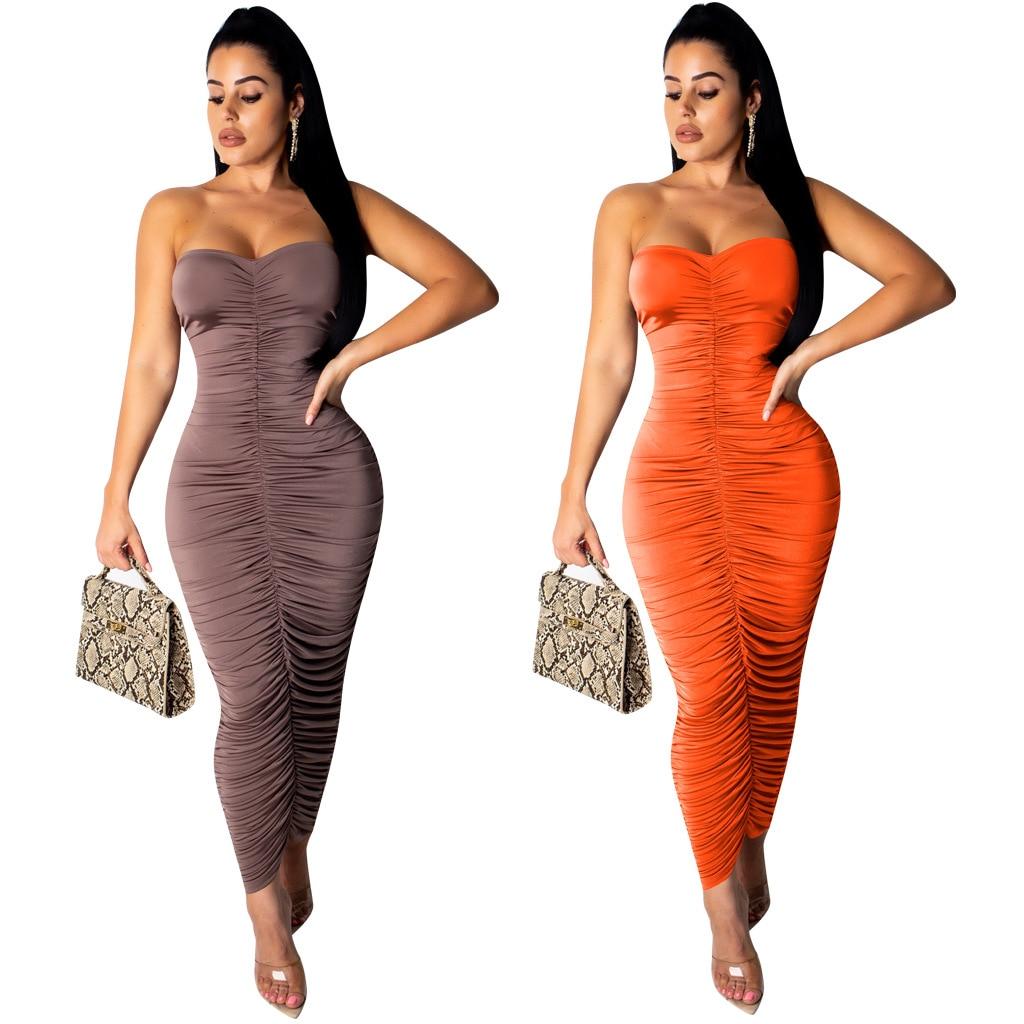 ¡Novedad de 2019! Vestido largo de talla grande natural sin tirantes de estilo sexy a la moda de verano para S-XL