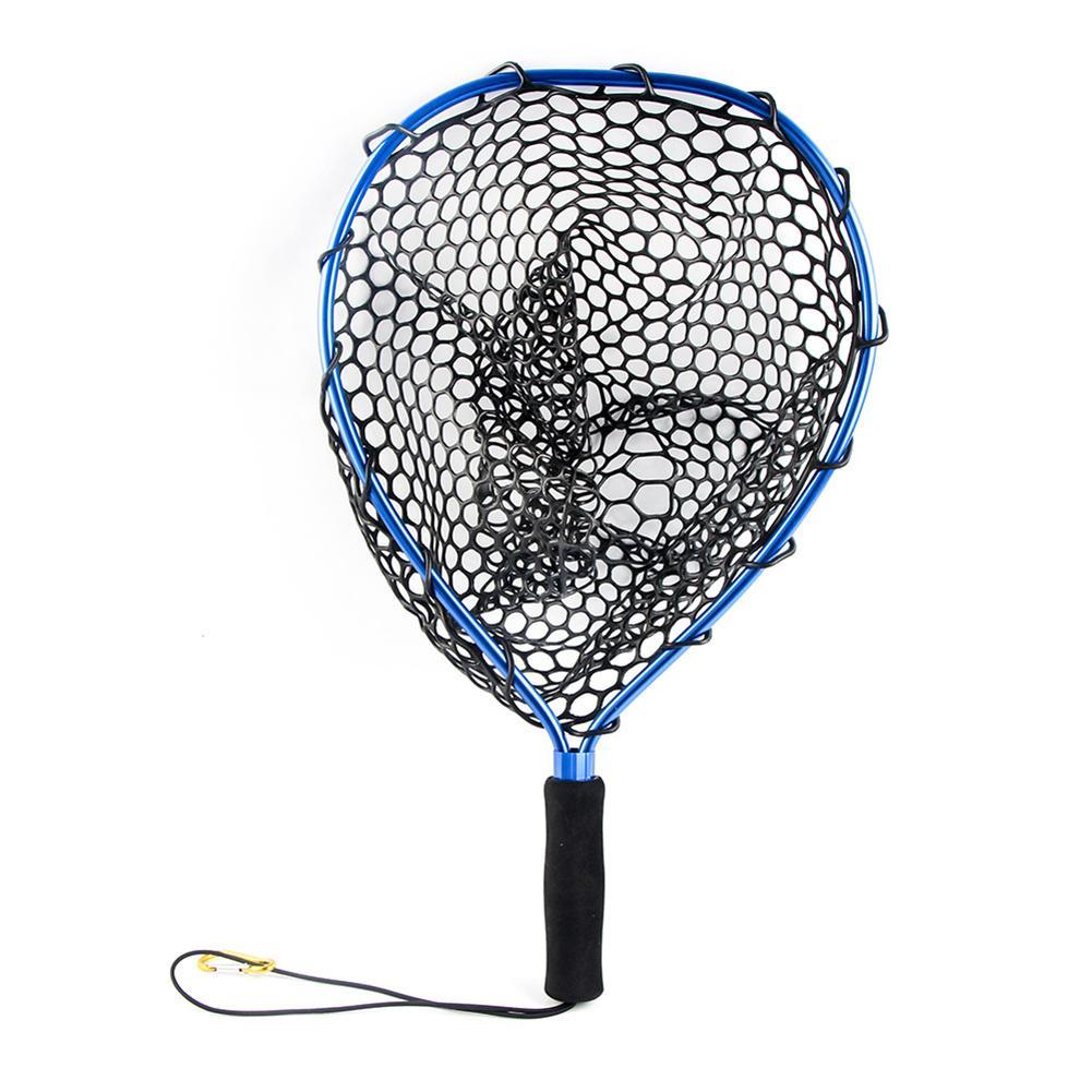 Liga de alumínio Fly Fishing Landing Nets Brail Landing Rede De Pesca Net Liberação de Mão de Borracha Macia Peixe Peixes Saver Armadilha Vermelho de Pesca