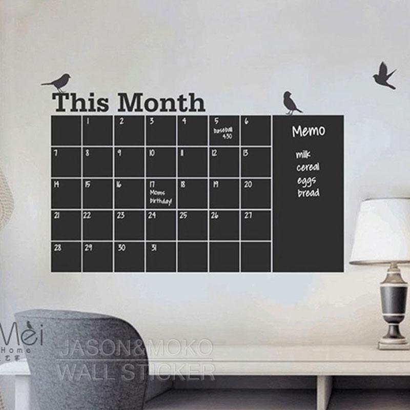 Diy planificador mensual adhesivos de pizarra calendario de pared extraíble aves vinilo calcomanía Mural decoración del hogar 65*105CM