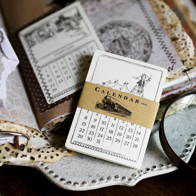 24 pcs calendar Cardstock Die Cuts for Scrapbooking Happy Planner/Card Making/Journaling Project